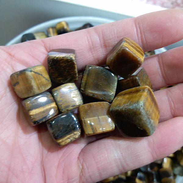 200g Natural Tigre Amarelo Olhos caído pedras Krocodylite Quartz pequeno Pebble polido pedra bruta Decoração cubo de rocha presentes para a cura