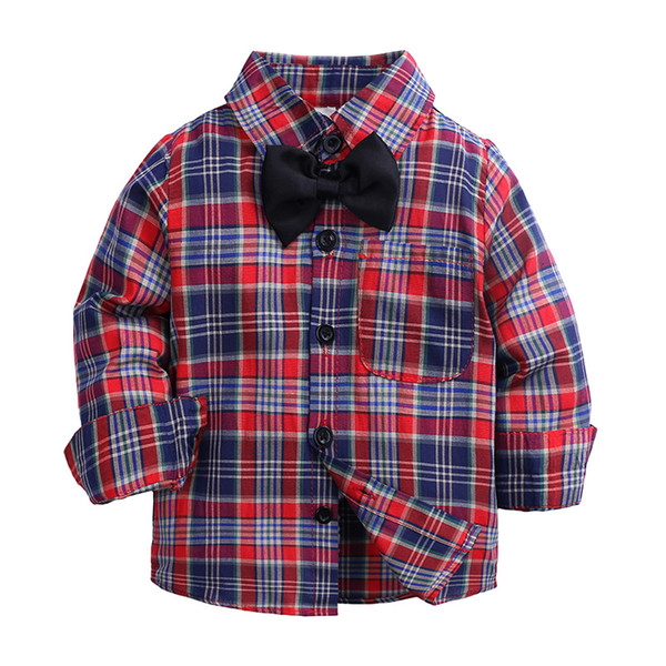 top popular Hot Sale Plaid Shirts Child Kid Boys Girl Long Sleeve Buttons Pocket Tops Shirt Turn Down Collar Blouse Casual 2021