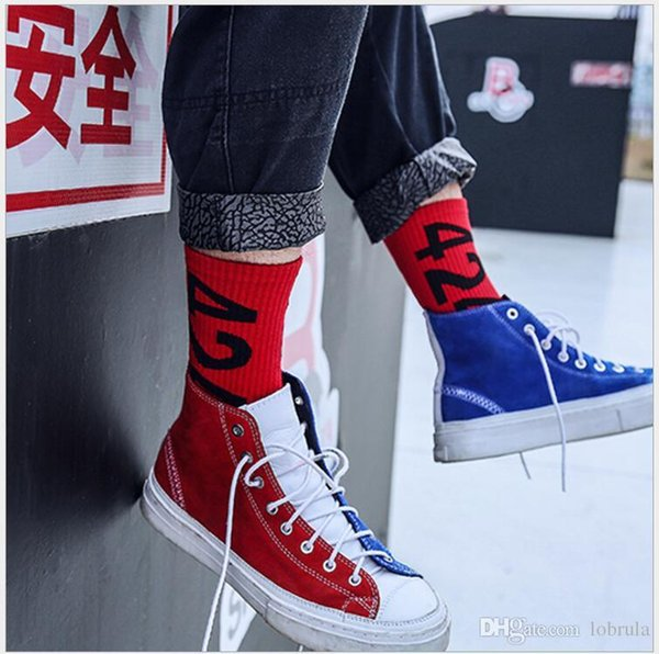 Men Women Socks 424 Letter Four Two Four Streetwear Long Socks Hip Hop Kanye West Fear Of God Justin Bieber Happy Socks