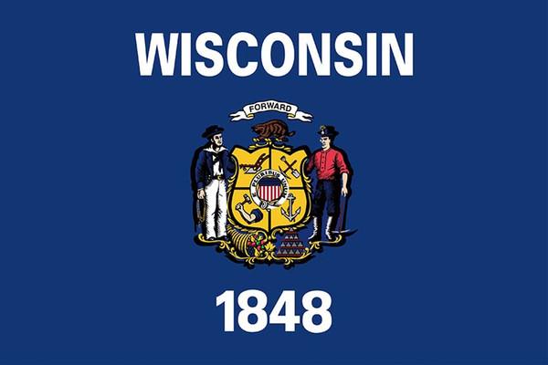Bandera de estado de Wisconsin personalizada 3x5 pies Estados Unidos bandera de poliéster con 2 ojales metálicos