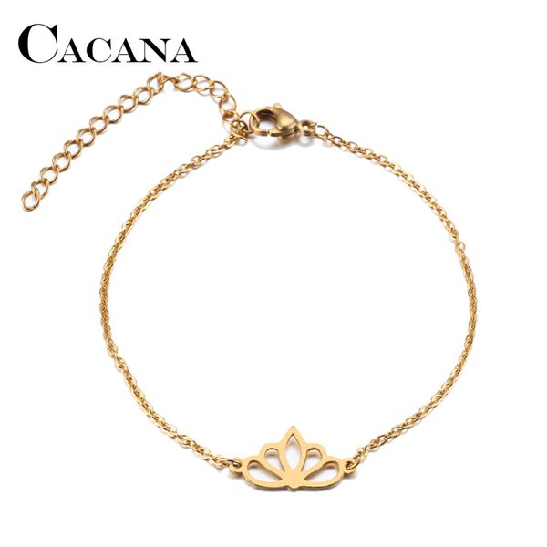 CACANA Edelstahl Armband Für Frauen Mann Lotus Gold Und Silber Farbe Pulseira Feminina Liebhaber Engagement Schmuck
