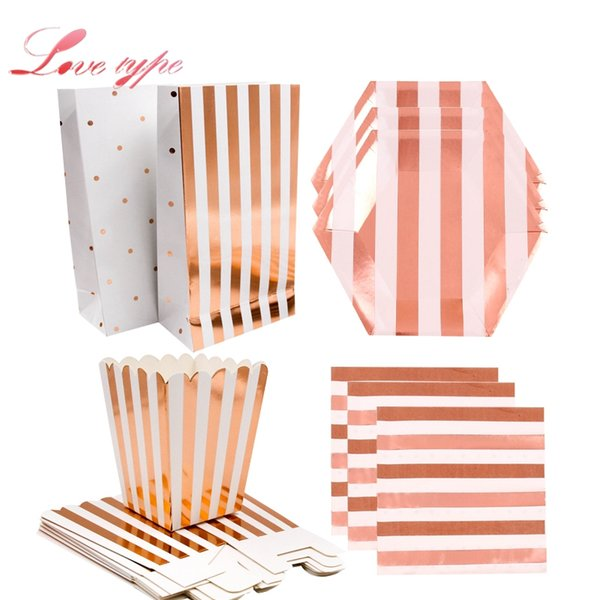 rose gold series paper straws/cup/plate gilding disposable tableware party supplies wedding/birthday/ pool party decoration