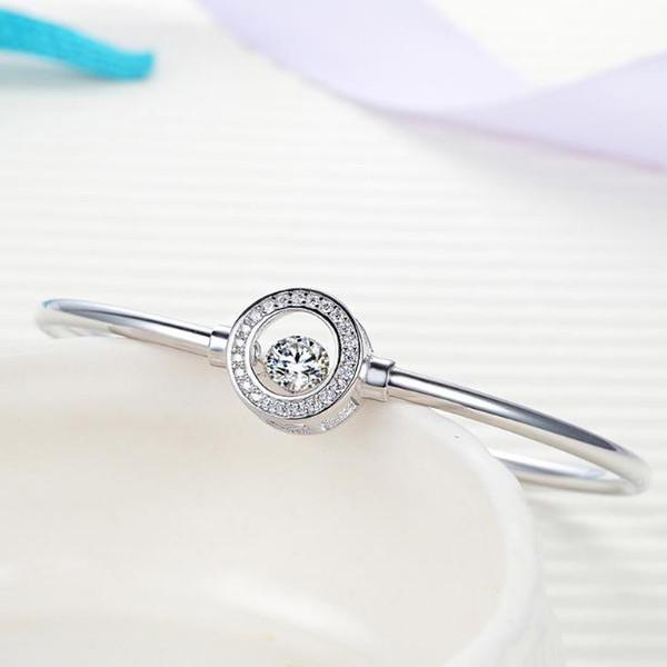 S925 pulseira de prata das mulheres estilo simples rodada inteligente anel de prata esterlina cem mão conjunto de jóias de diamante
