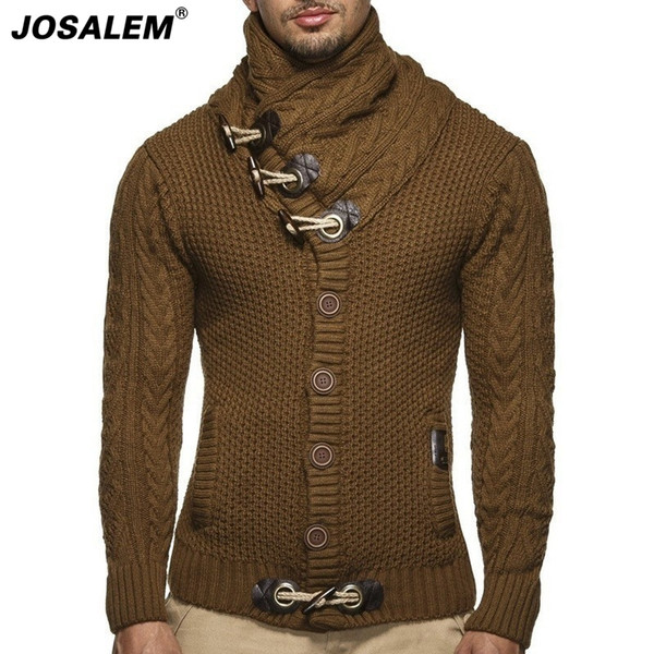 Großhandel JOSALEM 2018 Herbst Winter Mode Dicke Marke Herren Strickjacke Männer Gestrickte Kleidung Jumper Beiläufige Lose Mann Strickwaren Von