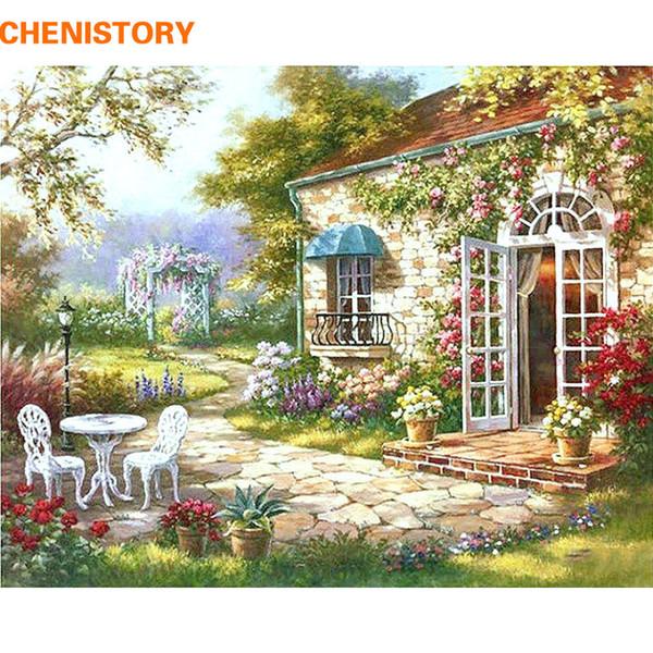 Satın Al Chenisotry Bahçe Evi Sayılar Tarafından Diy Boyama Soyut Modern Yağlıboya Ev Duvar Sanatı Dekor Oturma Odası Yapıt Için 40x50 Cm 2027