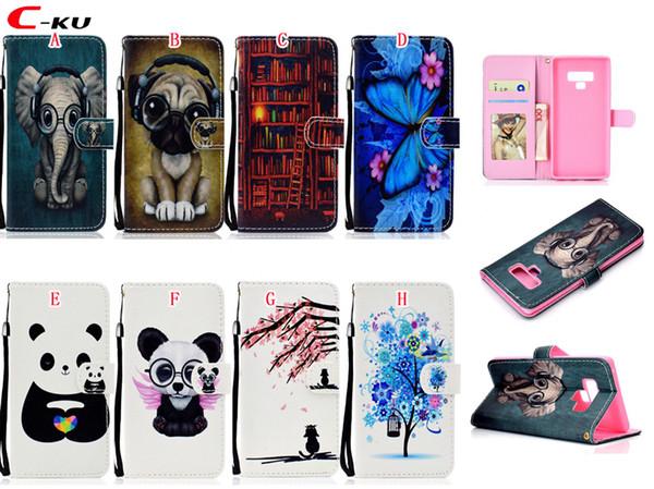 Funda de cuero Flower Dog para Samsung Galaxy NOTA9 S9 Plus J330 J530 J730 J2 Pro J4 J6 J8 2018 A8 A6 A5 2017 A50 A40 Panda Stand ID cubierta de piel