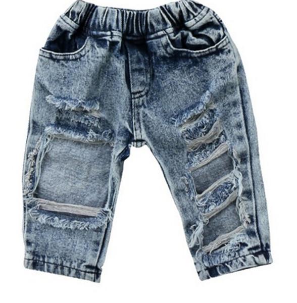 Kleinkind Kinder Kind Mädchen Mode Denim Hosen Stretch Elastische Hosen Jeans Zerrissenes Loch Kleidung Baby Mädchen 1-5 T
