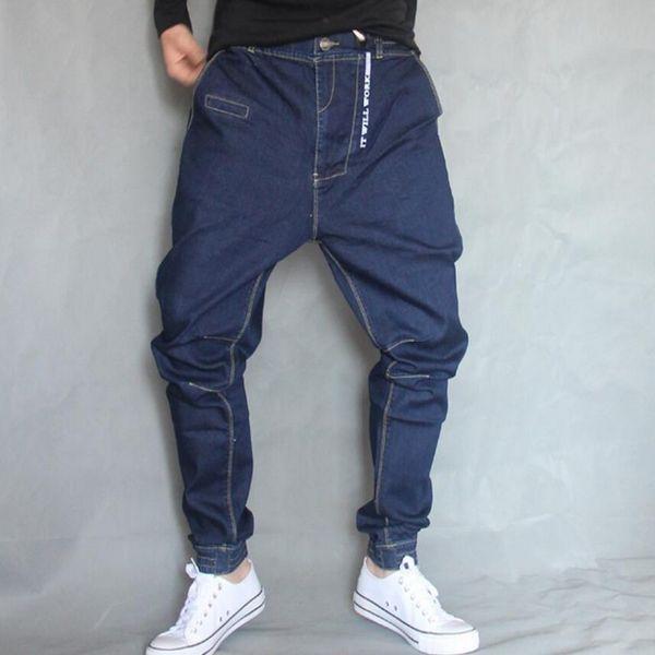 2018 Male Hip Hop Baggy Denim pants Street dance Skateboard hanging crotch Jeans Mens Loose Pencil Jogger Feet Pants A60510