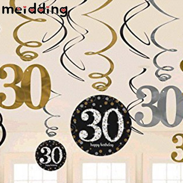MEIDDING 1set 30/40/50/60 Years PVC Spiral Ornaments Anniversary Birthday Party Decorations Hanging Pendent Banners