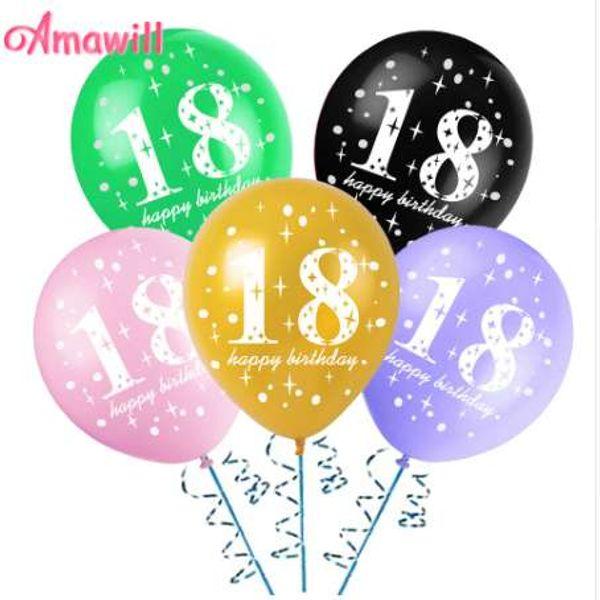 Amawill 10 stücke 18 Jahre Alt Latex Ballons Happy Birthday Globos für Bachelorette Liefert Geburtstag Partydekorationen Erwachsene 6D