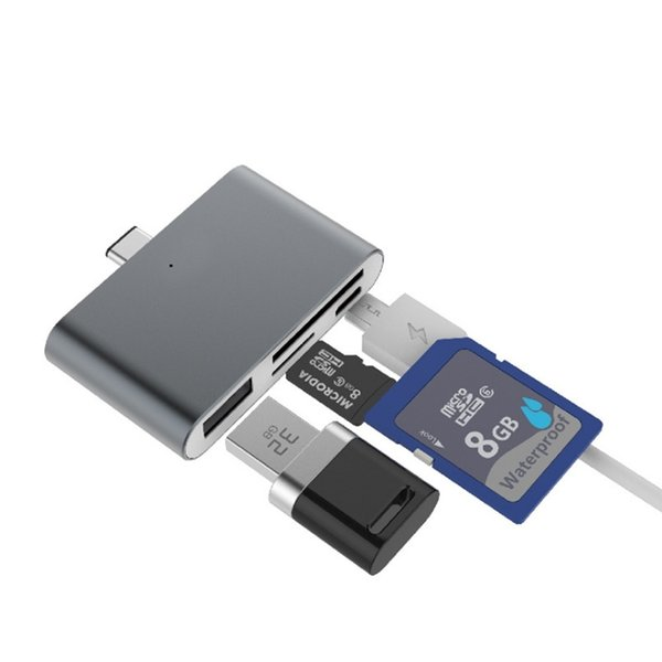4 in 1 USB3.1 Type-c Super Thin Micro SD Memory Card Reader for Phone/computer 4 colors