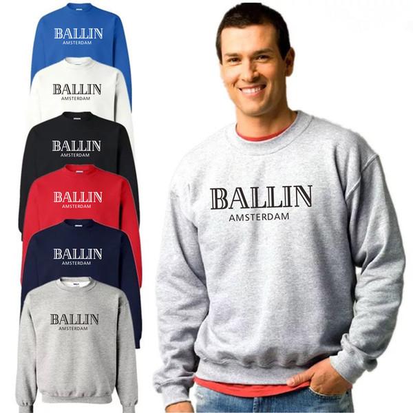 Novo outono e inverno camisola Ballin Amsterdam Impressão de manga comprida hoodies 100% algodão solto O Pescoço homens e mulheres Camisolas