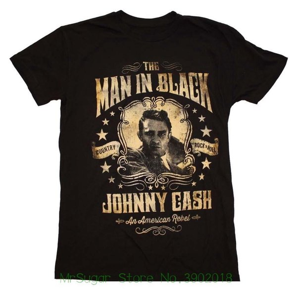 Johnny Cash Portrait T-shirt Casual Plus Size T-shirts Hip Hop Style Tops Tee S-2xl