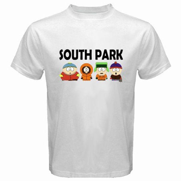 Men Fashion New SOUTH PARK Funny Cartoon TV Series Men's White T-Shirt Size S to 3XL O-Neck Streetwear Tees