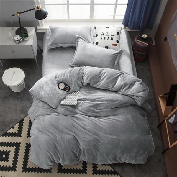 Twin Full Queen King size Bedding Set Gray Fleece Warm Bed sheet Fitted sheet Bed Duvet cover parrure de lit ropa/juego de cama