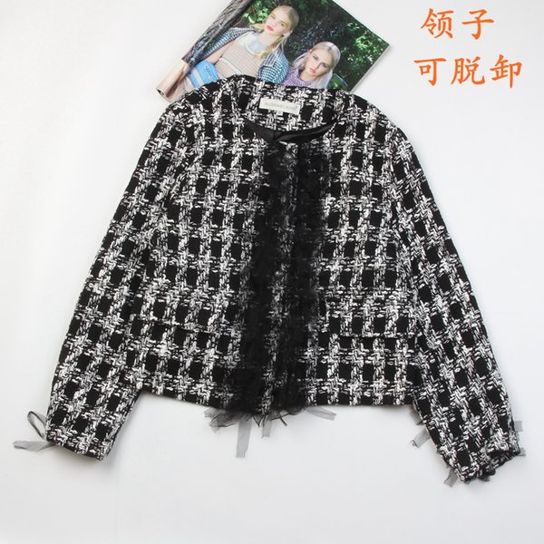 new 2018 sweet wind coat lace collar early autumn net short black red with small pure fresh coat tweed cardigan