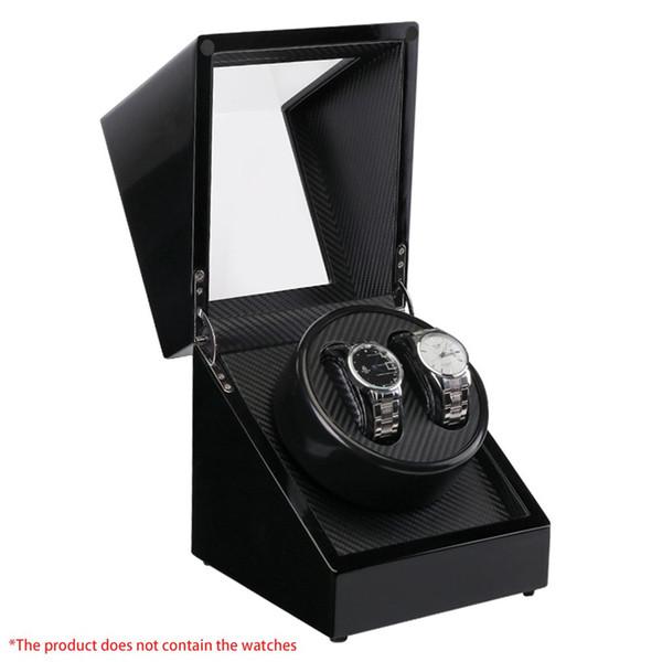 LISCN Double Watch Winders En Bois Laque Piano Brillant Noir Fibre De Carbone Quiet Motor Storage Display 2 + 0 Montres Boîte US Plug