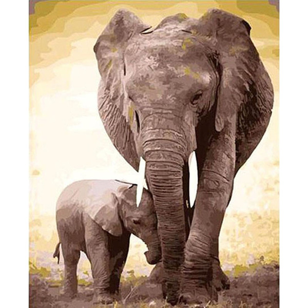 Frameless Elephant Diy Painting By Numbers Kits Acrylic Paint On Canvas Hand Painted Oil Painting For Living Room Artwork Gift