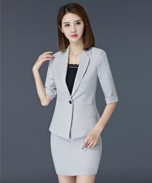 Formal Grey Blazer Women Skirt Suits Ladies Business Suits Office Uniform Designs Half Sleeve Jacket