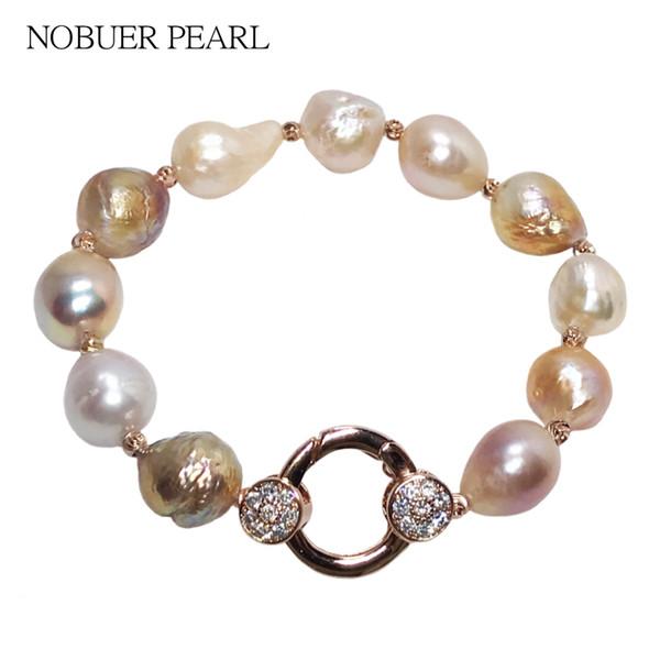 Nobuer Pulsera Brazaletes de perlas reales Pulseras para las mujeres 190 mm 925 plata esterlina Strand Pulseras de las mujeres a un partido S18101308