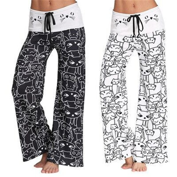 beb8e92933 Women ' ;S Yoga Pants Gym Leggings Cat Printed Loose Trousers Training  Excersice Wide Leg