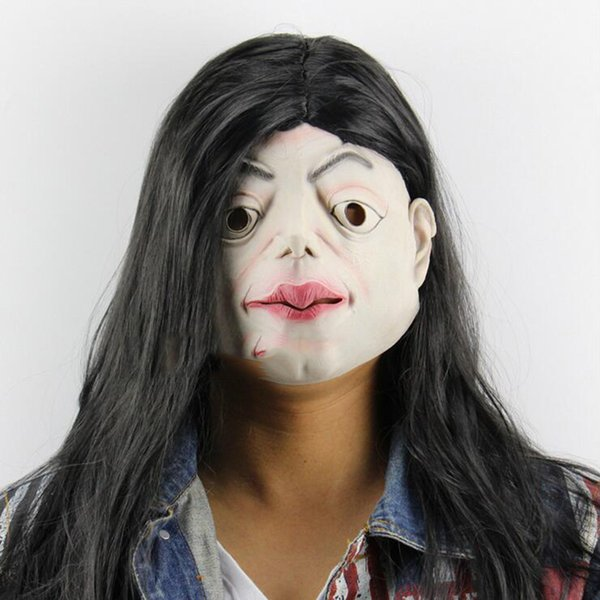 Scary Latex Halloween Mask Funny Brunette Witch Cosplay Full Face Horror Masquerade Adult Room Escape Ghost Mask Party Supplies