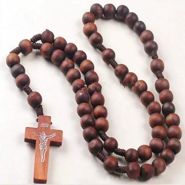 Wholesale-Retro Style Men Women Catholic Christ Wooden Rosary Bead Cross Pendant Woven Rope Necklace 8mm