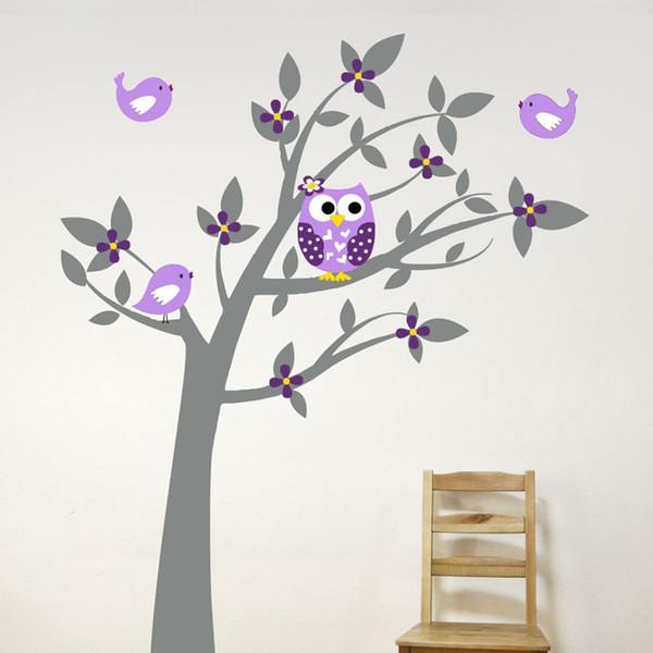 Großhandel Eule Vinyl Baum Wandaufkleber Aufkleber Wandbild Tapete Kinder  Kinder Baby Kinderzimmer Schlafzimmer Aufkleber Neues Jahr Baum Dekoration  ...