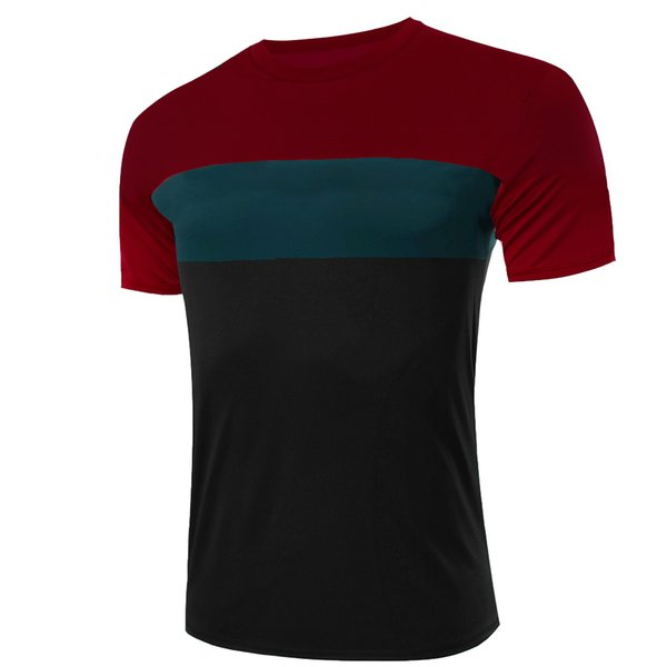 ZSIIBO TX131 Brand high-quality autumn and winter Hitz solid color stitching round neck short-sleeved sleeve Men's T-Shirt