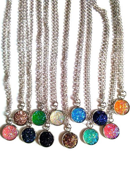 Mixed Order 20pcs lot stainless steel druzy pendant necklace fashion jewelry Valentine's Day gift Free shipping 20pcs lot