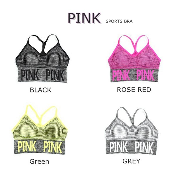 best selling Love Pink Letter Women Running Sports Bra Yoga Vest Quick-dry Shakeproof Tops Seamless Fitness Underwear Lady Crop Tops LK05