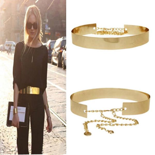 1PC Elegante cintura donna fascetta cinturino in metallo dorato specchio piatto sottile cintura con catene ampia cintura fascia in vita