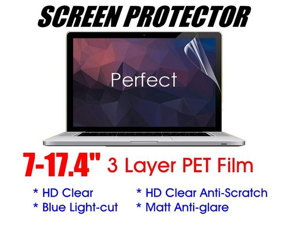 """Universal 7-24"""" 3 layer Soft PET Film Screen Protector For PC Laptop Tablet Notebook iPad Matebook LCD Monitor HD-Clear Anti-scratch Matte"""