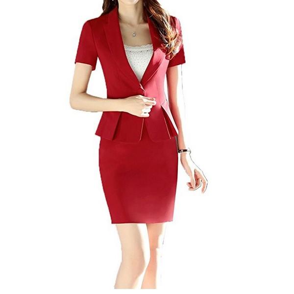 New Women OL Professional One-Button Blazer Jacket Short Sleeve with Skirt Slim Set 2 Piece Black Red 4XL DK836F