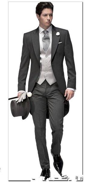 2018 NEUE Maßgeschneiderte Elegante Bridegrom Grau morgen anzug Hochzeit smoking für männer / groomwear anzüge iset (jacke + pants + tie + vest)