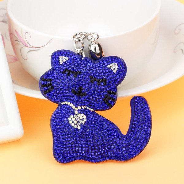 National Wind Love Tassel Rhinestone Gothic Woman Trendy Cute Animal Leather Ring Pendent Silver Dress Hook Cat Keychain 6C2358