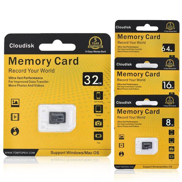 Cartão de Memória Cloudisk 64 GB 8 GB 16 GB 32 GB Micro SD Cartões Extreme Pro Cartão MicroSD Profissional 1080 P Full HD Tiro de Vídeo TF Flash