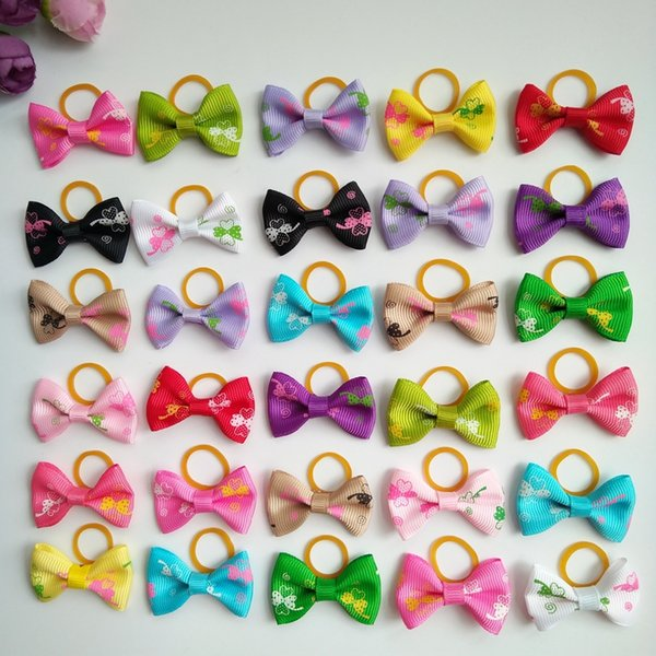 100pcs Butterfly print Bow New Dog Hair Bows Topknot Small Bowknot with Rubber Bands Pet Grooming Products Hair Accessories Mix Colors