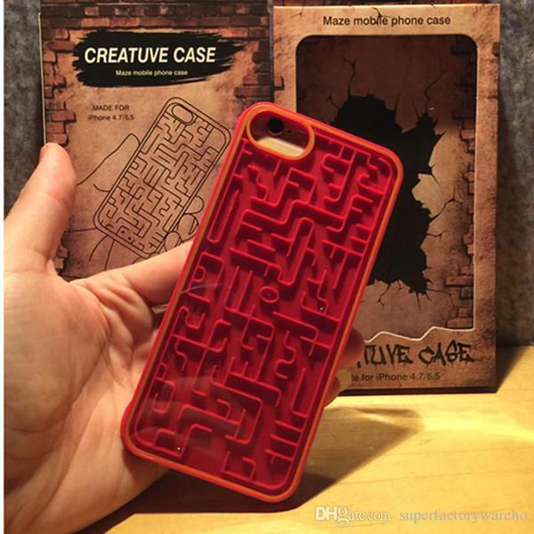 Caixa do telefone do labirinto para o telefone 6 6 s 7 8 Relaxar Labirinto PC Map Cover Game com caixa de embalagem de Varejo