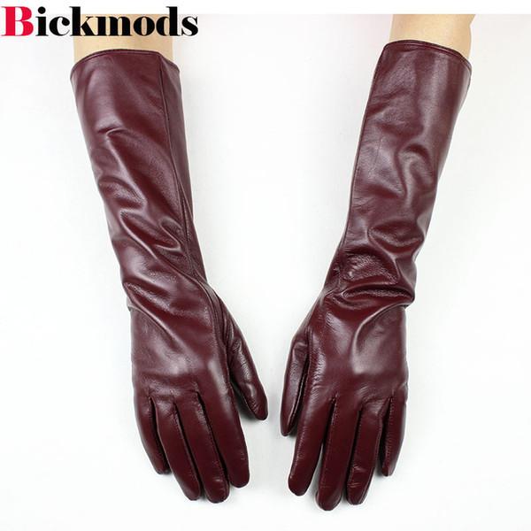 2018 Nuevos guantes de piel de oveja Largos mujer división larga se refiere guantes de cuero marrón delgado brazalete brazalete chaqueta caliente envío gratis