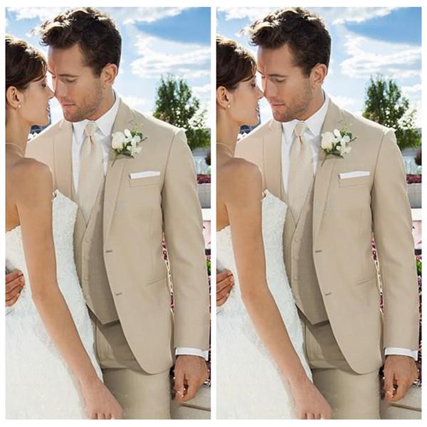 Top Sale 3 Piece Elegant Beige Groom Wedding Tuxedos Custom Formal Groom Wear Groomsman Suit Best Fitted Business Suits (Jacket+Pant+Vest)
