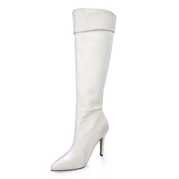 9.7cm Handmade Winter Autumn Women Boots Elegant Women Dress High Heels Knee-high Boots Pointed Toe Zip White Leather Long Boots for Women