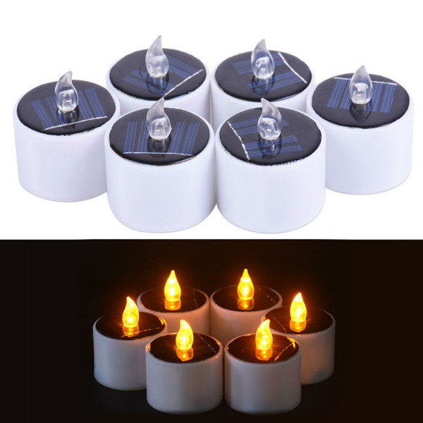 6 Pieces /Lot New Type Yellow Flicker Solar Power Led Light Candles Flameless Electronic Solar Led Nightlight Solar Energy Candle