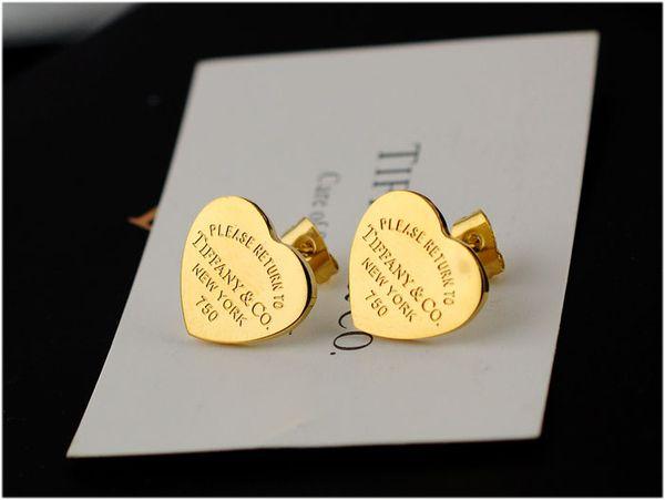 High Quality Celebrity design Women Letter Silverware Stud Earrings Fashion Metal Heart-shaped Earring Jewelry With Box