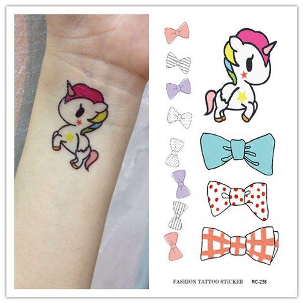 Waterproof Temporary Tattoo Sticker on body unicorn horned horse bow tatto stickers flash tatoo fake tattoos for girl kids child