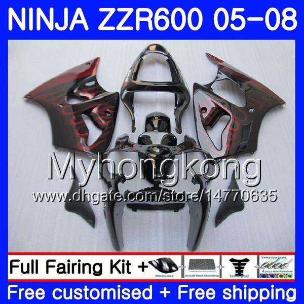 Carrocería llamas rojas para KAWASAKI NINJA 600CC ZZR600 venta caliente 05 06 07 08 219HM.7 ZX600 CC ZZR-600 ZZR 600 2005 2006 2007 2008 Fairings Kit