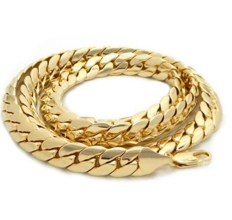 "Mens 12mm Miami Cuban link Chain 14k Gold Plated 24"" inch Necklace"