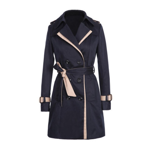 2017 Mulheres Trench Coat Inverno Magro Trenchcoat Double-Breasted Senhoras Casuais Blusão Outwear Plus Size