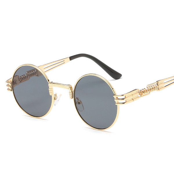 1f3b35455e Round Metal Sunglasses Steampunk Men Women Fashion Spring Legs Glasses  Brand Designer Retro Vintage Sunglasses For
