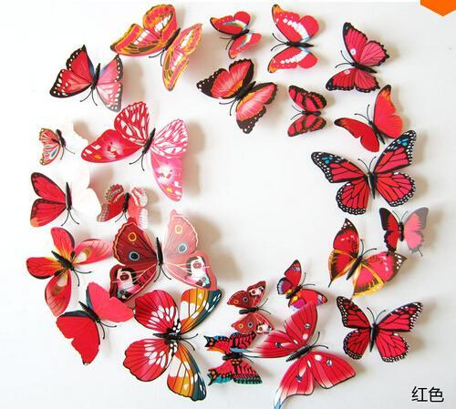 Wholesale- 3D Butterfly Wall Decals 12Pcs 2Big+2Middle+8Small PVC 3D Butterfly Wall Stickers For Girl Boy Kids Living Rooms Home Decoration